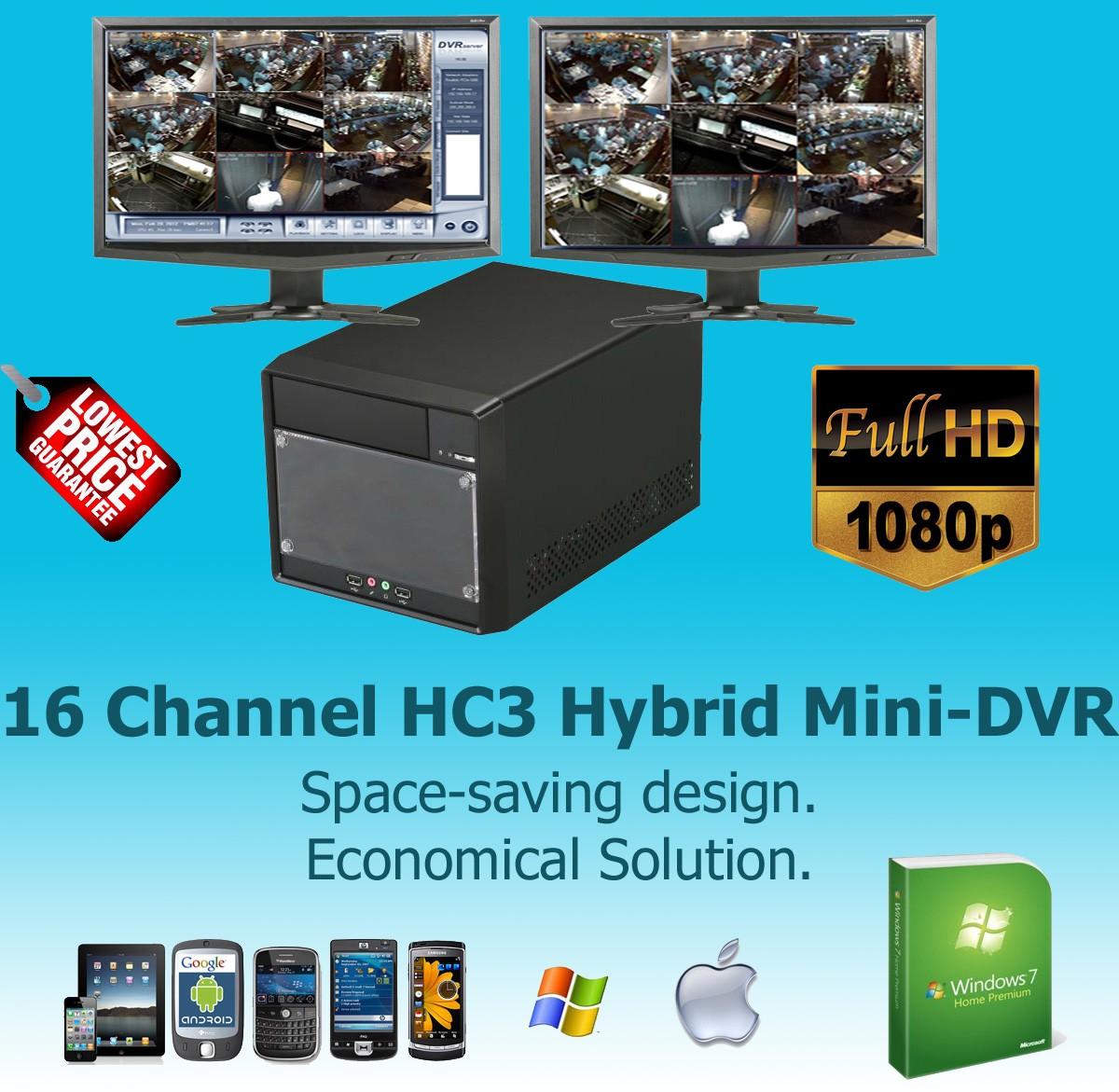 16 Channel Hybrid D1-HC3 Hardware Compressed Mini-DVR